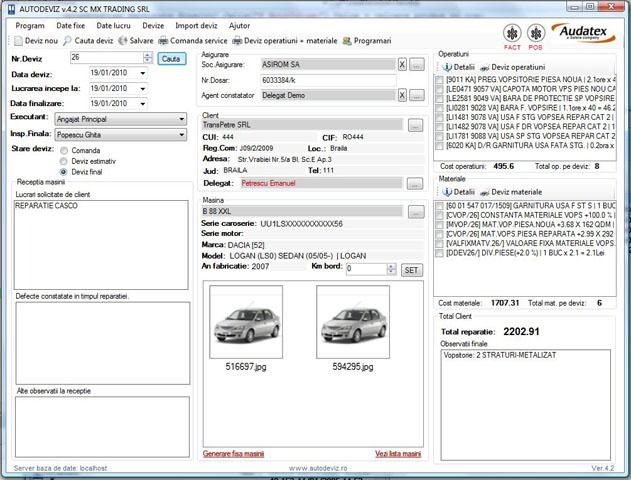 Aplicatie software service auto