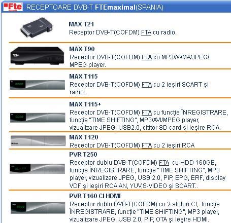 Receptoare DVB-T