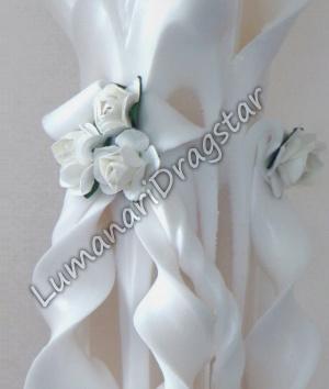 Lumanare nunta 60cm sculptata la un capat ( model 5 coloane)-alb