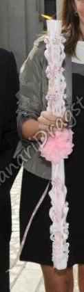 Aranjament - lumanare 80cm model la ambele capete si funda roz