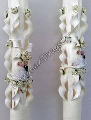 Lumanare nunta 60cm sculptata la un capat ( model 5 coloane)-crem