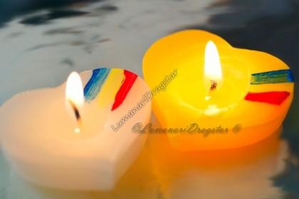Lumanari plutitoare - model inima - tricolor - alb