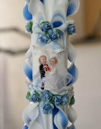 Lumanare nunta 60cm sculptata la un capat ( model 5 coloane)-albastru