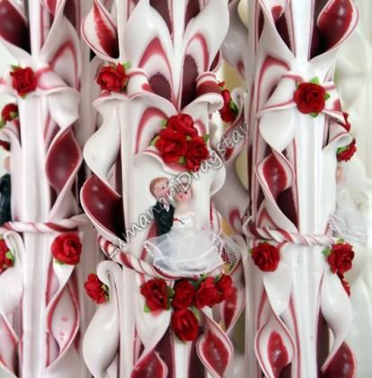 Lumanare nunta 60cm sculptata la un capat ( model 5 coloane)- grena