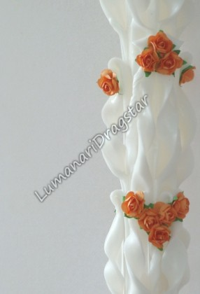 Lumanare nunta 60cm sculptata la un capat ( model 5 coloane)-portocaliu