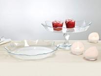 Platou din sticla cu picior pentru masa