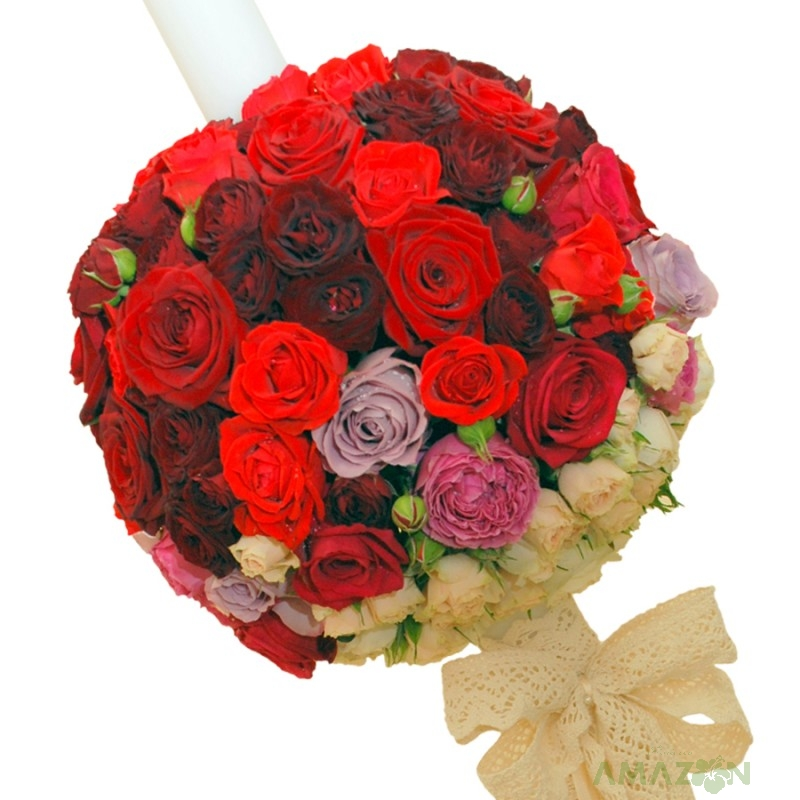 Lumanari Cununie cu trandafiri si dantela
