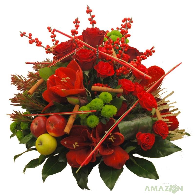 Aranjament Xmas fructe si flori