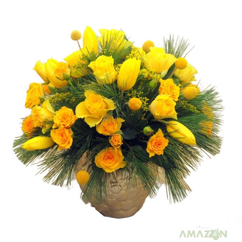 Aranjament Xmas cu flori galbene