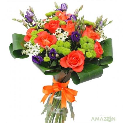 Buchet trandafiri portocalii si ornitogalum