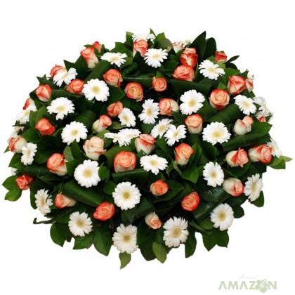 Coroana rotunda trandafiri si gerbera