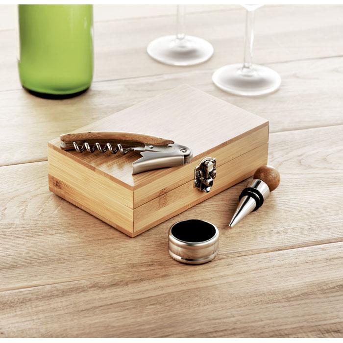 Set de vin în cutie din bambus
