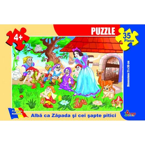 Puzzle - Albă ca Zăpada şi cei şapte pitici - 35 piese