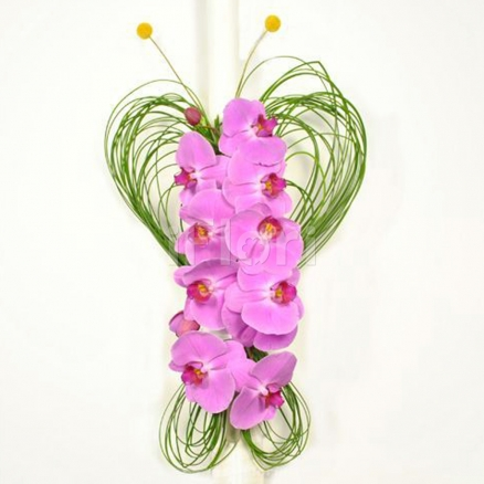 Lumanare botez din orhidee roz
