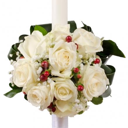 Lumanare botez din trandafiri albi
