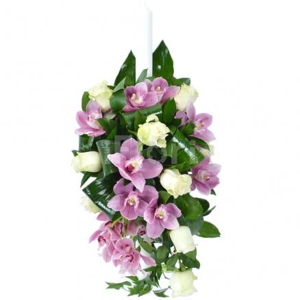 Lumanare de botez cu orhidee si trandafiri