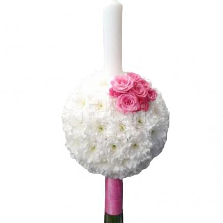 Lumanare de botez fetita din crizanteme si trandafiri
