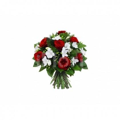 Buchet trandafiri frezia salal