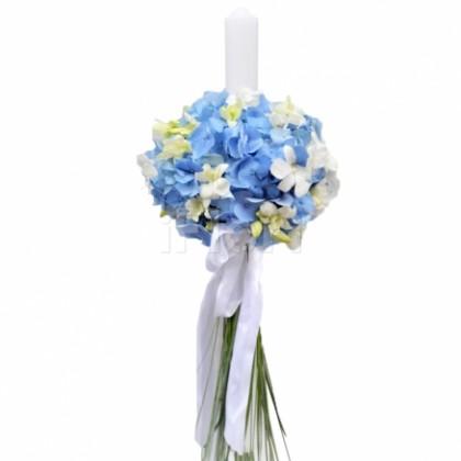 Lumanare botez hortensia albastra