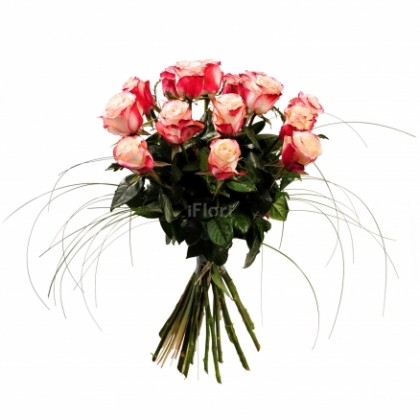 Buchet 15 trandafiri degrade