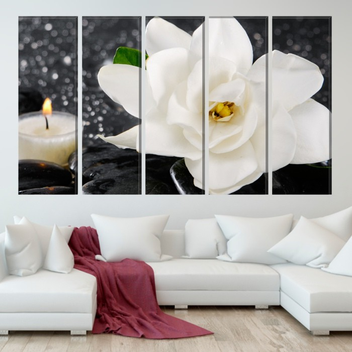 Multicanvas 5 Tablouri Trandafir Alb