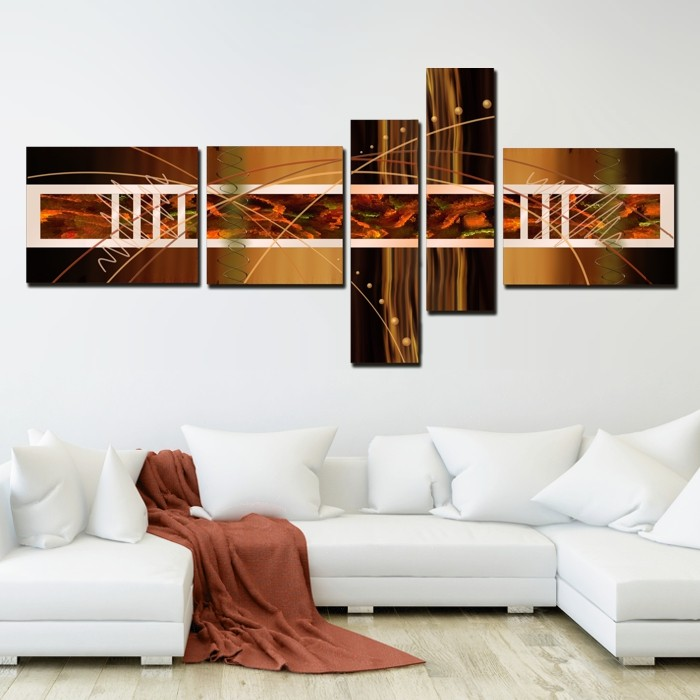 Multicanvas Abstract Brown Set 5 Piese