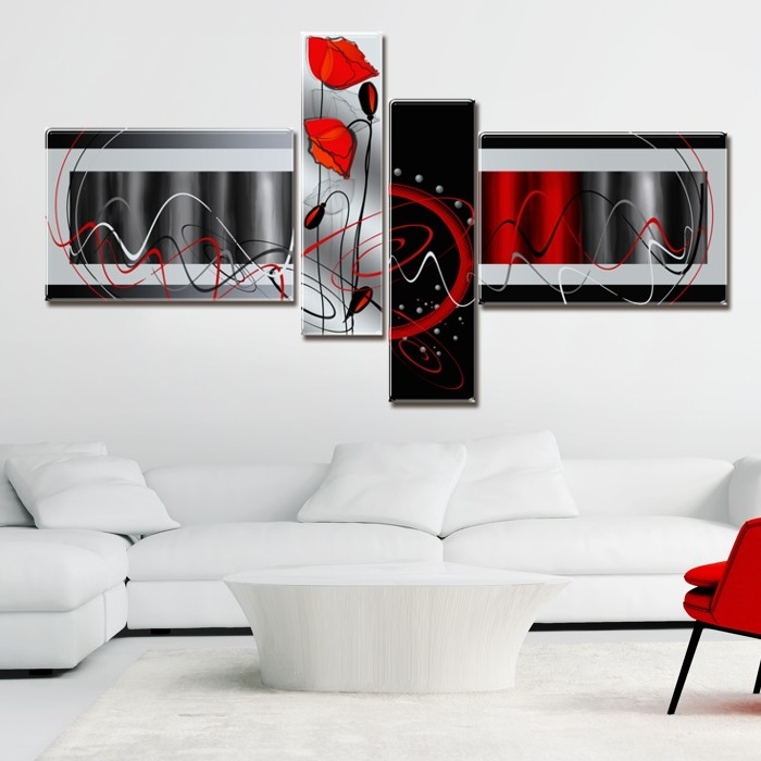 Multicanvas Abstract Black & Red Set 4 Piese