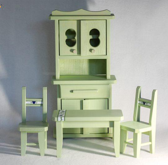 Set mobilier de bucatarie din lemn pentru casuta papusilor