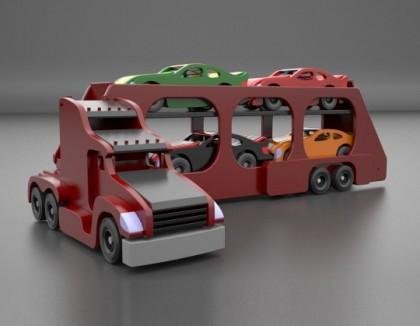 Jucarie Trailer camion din lemn