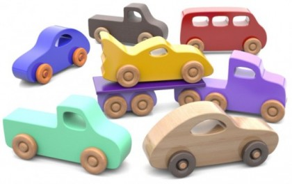 Set 7 mașinuțe din lemn