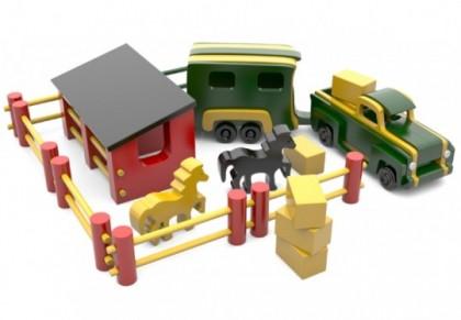 Jucarie Camionetă din lemn cu ferma