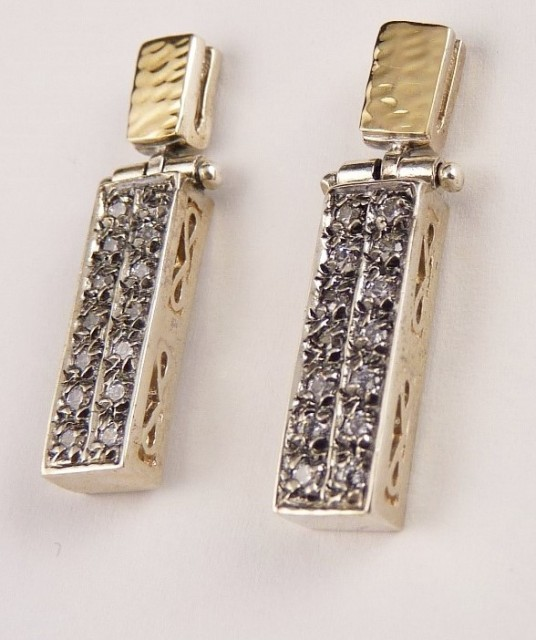 Cercei argint si aur 14 k E1694SN- zircon