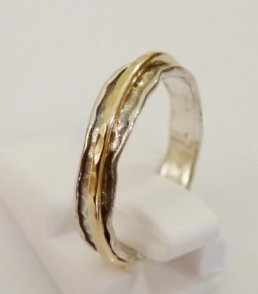 Inel argint cu o banda rotativa goldfilled -1217GF