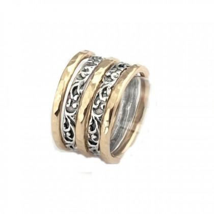 STIVA 5 INELE - 86STGF inele argint si goldfilled