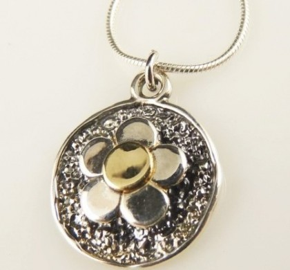 Colier argint si design cu aur 14k-E2463SG