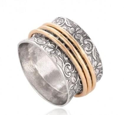 Inel argint decorat cu trei verigi goldfilled -2412RGF