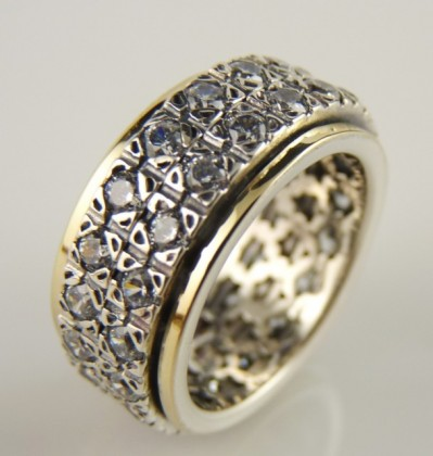Inel argint, aur 14k si R1604SN zircon