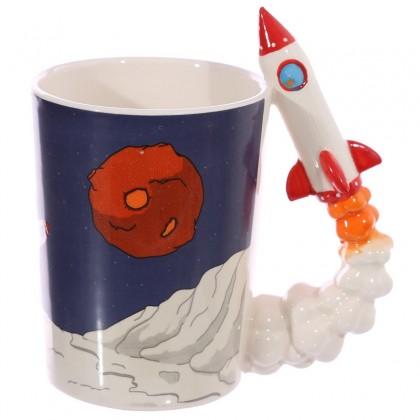 Cana din ceramica Terra cu maner racheta 300 ml
