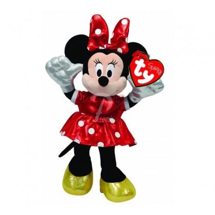 Jucarie plus Ty, Minnie Mouse rosu, sparkle, cu sunet