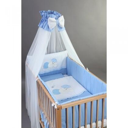 Set Lenjerie patut bebelusi si copii brodata 4 piese 120x60 Ursulet - BebeDesign