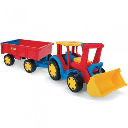 Tractor gigant cu escavator si remorca - Wader