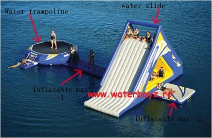 Parc Gonflabil model 3 – dimensiuni topogan: 10x4x7mH; trambulina: 5m diametru
