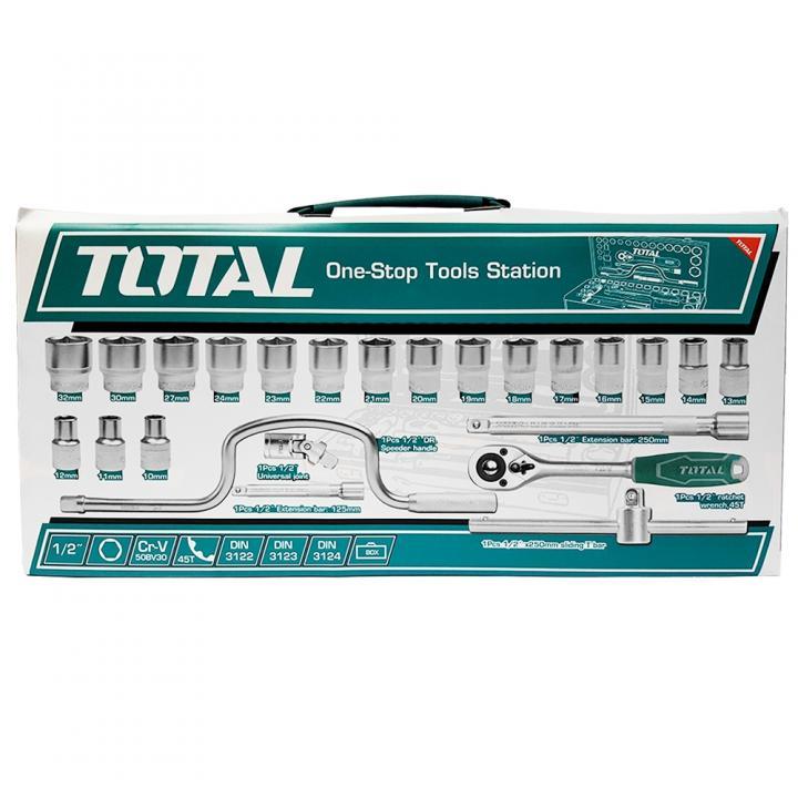 Trusa de chei tubulare 1/2 CU antrenor 24 piese Total Tools