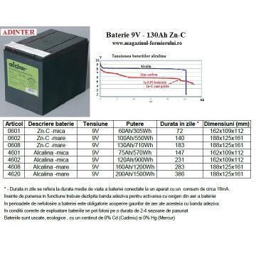 Baterii Zinc-Carbon 9V 130Ah