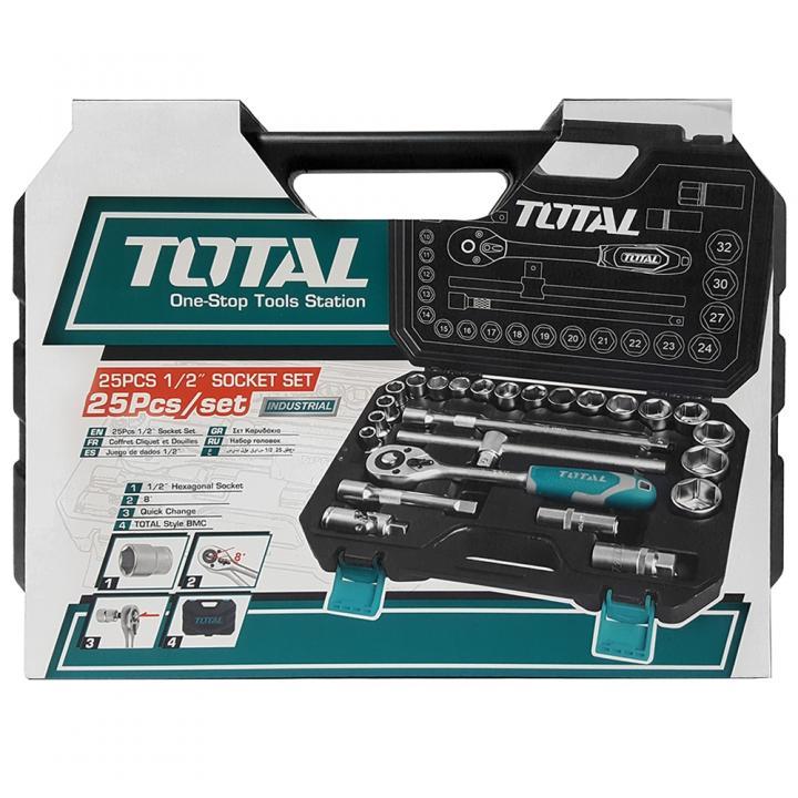 Trusa de chei tubulare 1/2 cu antrenor 25 piese Total Tools