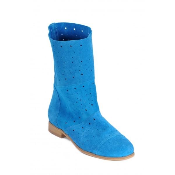 Cizme de vara scurte din piele naturala, albastre