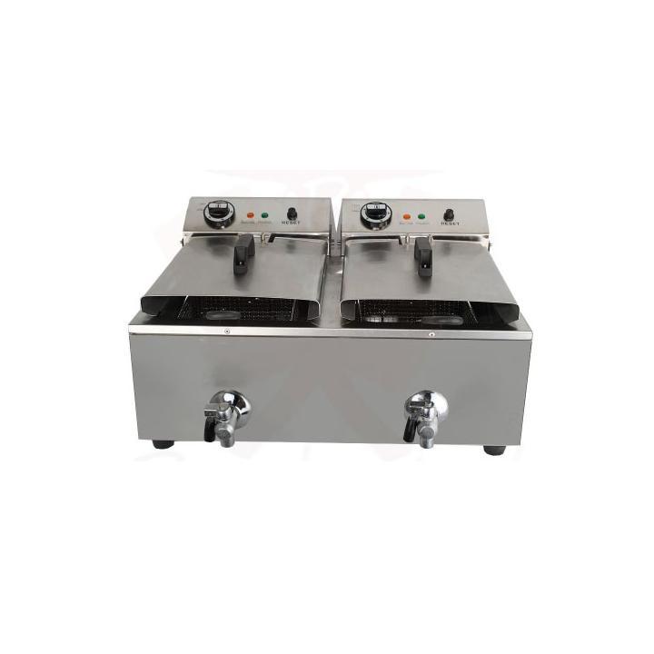 Friteuza electrica profesionala 10+10 litri cu robinet