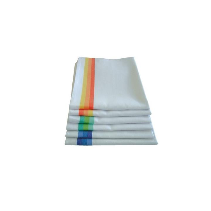 Prosop bucatarie albe cu dunga de diverse culori 50x70 cm