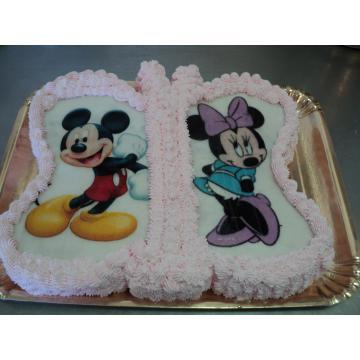 Tort fluture cu Mini si Mickey Mouse