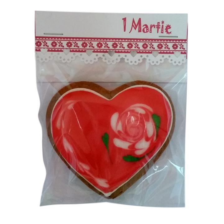Martisor inima cu trandafir